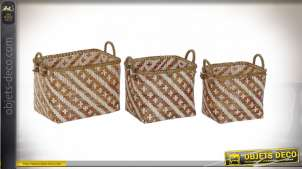CORBEILLE SET 3 BAMBOU 45X34X38,5 MARRON