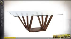 TABLE NOYER VERRE 200X100X75 12 MM. NATUREL MARRON
