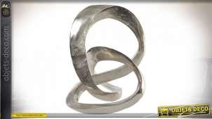 Décoration à poser en aluminum de style abstrait, volutes modernes, finition acier effet brillant brossé, 28cm