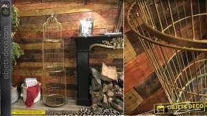 Grande étagère cage à oiseau, en métal finition dorée mate, 3 niveaux avec plateaux miroirs, ambiance romantico chic, 140cm