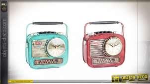 HORLOGE POSER MÉTAL 22X8,5X19 RADIO VIEILLI 2 MOD.