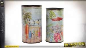 Série de deux porte-parapluie en bois de forme cylindrique, motifs de plage tropicale et surf, Ø26cm