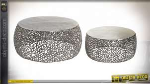 TABLE BASSE SET 2 ALUMINIUM 70X30 CORAIL ARGENTÉ