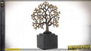 Représentation d'un arbre en résine monté sur socle, finition charbon et cuivré, ambiance trophée nature, 31cm