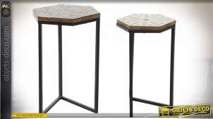 TABLE AUXILIAIRE SET 2 MÉTAL MANGUE 35X30X52