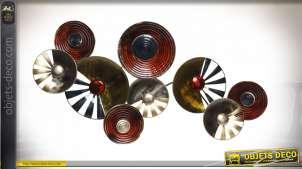 Décoration murale en métal de style moderne, finitions industrielles, formes de cercles entrelacés, 118cm