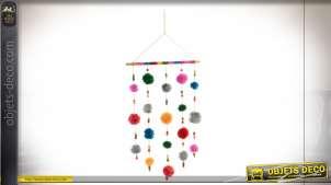 Décoration murale en tissus multicolore, pompons moelleux suspendus, déco pour chambre d'enfant, 78cm