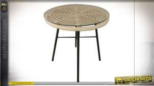 TABLE AUXILIAIRE ROTIN SYNTHÉTIQUE VERRE 44X44X43