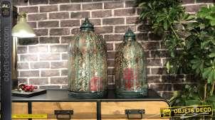 Set de 2 lanternes à silhouette en ogive métal finement ajouré, inspiration forme de cloche,52 cm