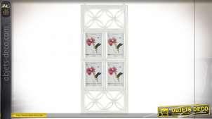 Grande décoration murale en bois blanchi pour installation de 4 photos, style blanc romantique et formes arabesques, 75cm