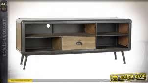 Meuble TV en bois de sapin finition brute et en métal anthracite acier, de style industriel moderne, rivets apparents, 140cm