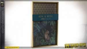 Boite à clés en bois avec motifs de jungle en fond, crochets de suspension en partie supérieure, 40cm