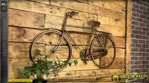 Grand vélo mural en métal finition vieux doré laiton, style vintage chic, 108cm