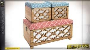 Banquette coffre en bois de sapin et revêtement lessivable, facades miroitées, finition bleu ancien et rose poudré, 80cm