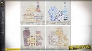 Série de 4 toiles sur le thèmes des vases et des anciens motifs des carreaux de ciments, style vintage discret, 40x40cm