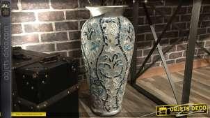 Grand vase pour fleurs séchées ou guirlandes, en terre cuite avec mosaïque de miroirs teintés bleu, style chic, 60cm