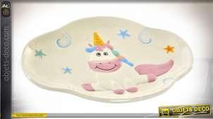 Petite assiette décorative vide poche en dolomite avec motif de licorne, thème animaux légendaires, 24cm