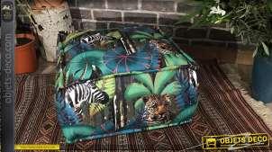 Coussin de sol aux motifs tropicaux et animaux sauvages, couleurs vives esprit jungle 45x45