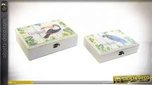Série de deux boites décoratives de rangement, en bois et toile imprimée de motifs tropicaux et perroquets, 33cm