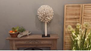 Décoration en bois flotté finition blanc, forme d'arbre monté sur socle en fer noir, ambiance bord de mer moderne, 70cm