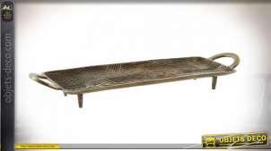 Plateau décoratif - centre de table en aluminium en forme de tronc, richement veiné et texturé, grandes anses, finition dorée vieillie, 59cm