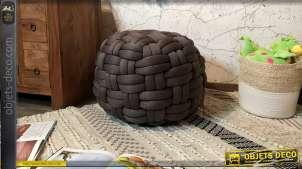 Pouf de style moderne contemporain, esprit cordage tressé finition chiné, en mousse compacte, Ø57cm