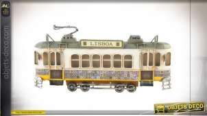 Véhicule de décoration murale, tramway de style vintage de Lisbonne au Portugal, finitions anciennes, 27cm