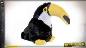 Cale porte en tissus esprit peluche de sol, toucan au grand bec, jaune pétant et noir brillant, 29cm
