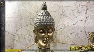Représentation de la tête de Bouddha en résine, finitions dorées et argentées, esprit trophée brillant, 35cm