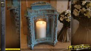 Lanterne à poser de style vintage formes concaves patine bleu antique