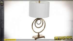 LAMPE DE TABLE MÉTAL LIN 38X38X72 72 CERCLE DORÉ