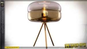 LAMPE DE TABLE MÉTAL VERRE 38X53 DORÉ