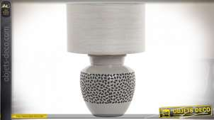 LAMPE DE TABLE GRES POLYESTER 32X32X46 GRIS