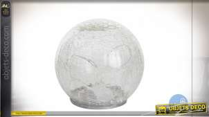 Sphère lumineuse en verre translucide effet craquelé, luminère douce ambiance chaleureuse, Ø14cm