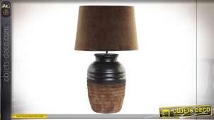 LAMPE DE TABLE CÉRAMIQUE VELOURS 40X65 MARRON