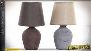 LAMPE DE TABLE GRES COTON 18X18X32 VIEILLI 2 MOD.