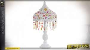 LAMPE DE TABLE MÉTAL ACRYLIQUE 25X25X48 BLANC