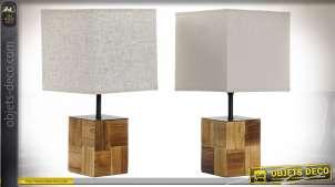 LAMPE DE TABLE BOIS LIN 20X20X40 NATUREL 2 MOD.