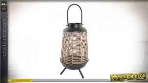 LAMPE DE TABLE MÉTAL ROTIN 27X27X63 NATUREL MARRON