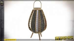 LAMPE DE TABLE BAMBOU 34X34X71 IKAT NATUREL