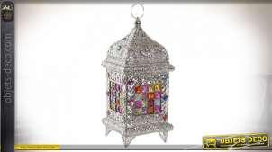 Lampe lanterne argentée avec mosaïque multicolore style oriental