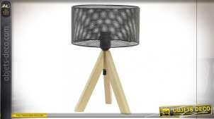 LAMPE DE TABLE BOIS MÉTAL 22X34 GRIS