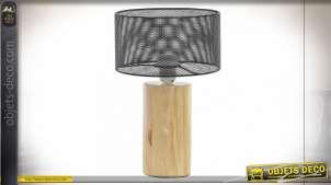 LAMPE DE TABLE BOIS MÉTAL 22X39,5 GRIS