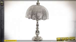 LAMPE DE TABLE MÉTAL 30X30X54 CHROME ARGENTÉ