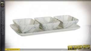 Accesoire de service apéritif, trois petites coupelles et assiette de transport, en porcelaine finition grise aspect marbre, 26cm
