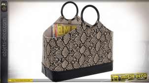 Corbeille porte revues avec anses, motifs de peau de serpent synthétique finitions beiges et brunes, 43cm