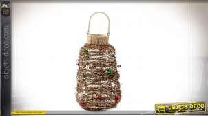 Lanterne en rotin effet buisson avec décorations de Noël 42 cm