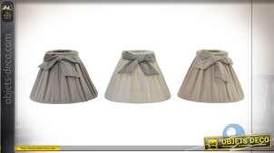Série de trois abat-jour en coton épais, couleurs chaleureuses et discrètes avec rubans, Ø22cm