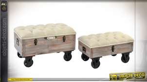 BANQUETTE SET 2 SAPIN POLYESTER 82X42X50 ROUES
