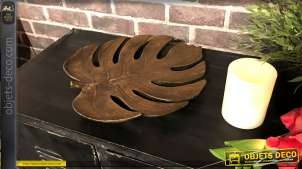 Centre de table en résine en forme de feuille Monstera Deliciosa, finition bronze brossé